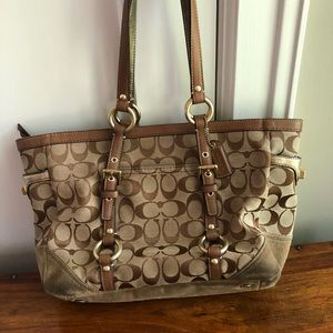 Coach tan and brown suede shoulder bag Tote